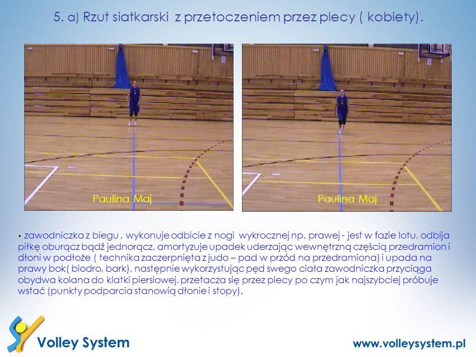 zawodniczka z biegu, wykonuje odbicie z nogi wykrocznej np. prawej - jest w fazie lotu, odbija piłkę oburącz bądź jednorącz, amortyzuje upadek uderzaj