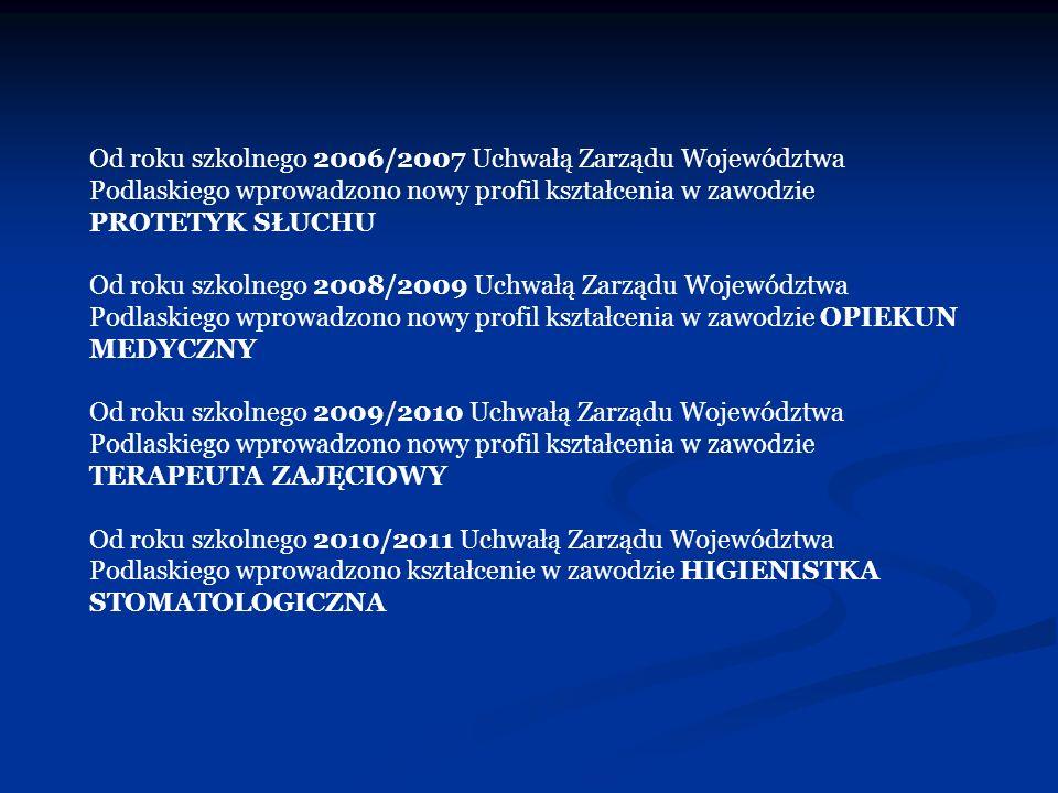 Od roku szkolnego 2006/2007 Uchwałą Zarządu Województwa Podlaskiego wprowadzono nowy profil kształcenia w zawodzie PROTETYK SŁUCHU Od roku szkolnego 2