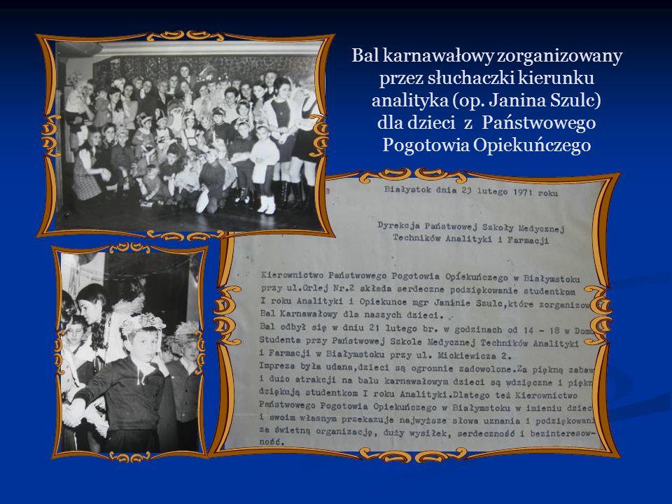Bal karnawałowy zorganizowany przez słuchaczki kierunku analityka (op. Janina Szulc) dla dzieci z Państwowego Pogotowia Opiekuńczego