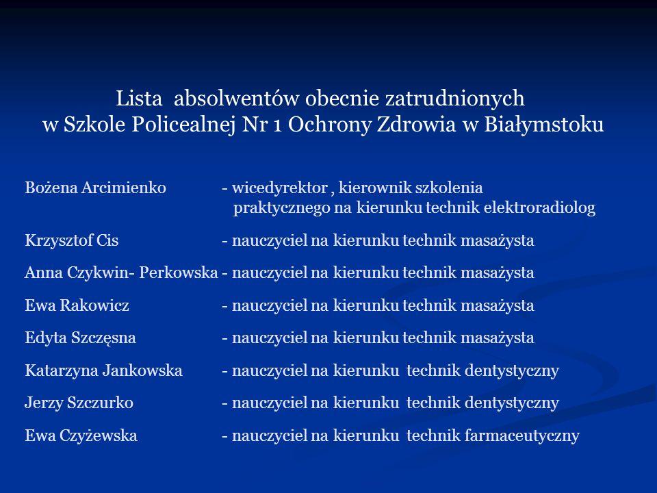 Bożena Arcimienko- wicedyrektor, kierownik szkolenia praktycznego na kierunku technik elektroradiolog Krzysztof Cis- nauczyciel na kierunku technik ma