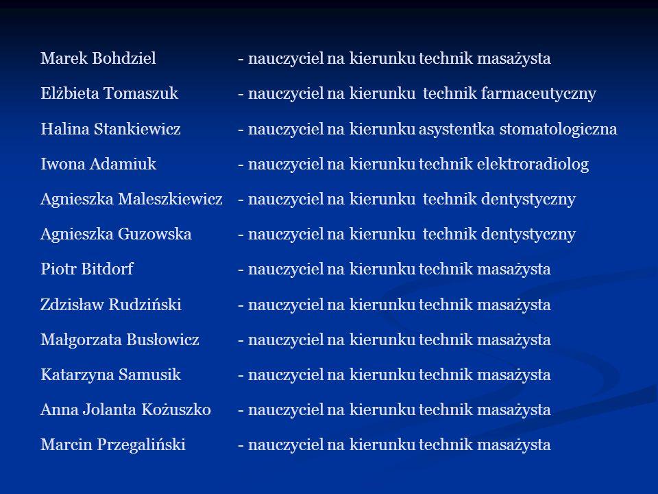 Marek Bohdziel- nauczyciel na kierunku technik masażysta Elżbieta Tomaszuk- nauczyciel na kierunku technik farmaceutyczny Halina Stankiewicz- nauczyci