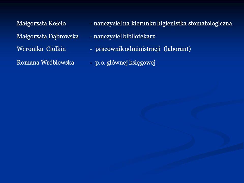 Małgorzata Kołcio- nauczyciel na kierunku higienistka stomatologiczna Małgorzata Dąbrowska- nauczyciel bibliotekarz Weronika Ciulkin- pracownik admini