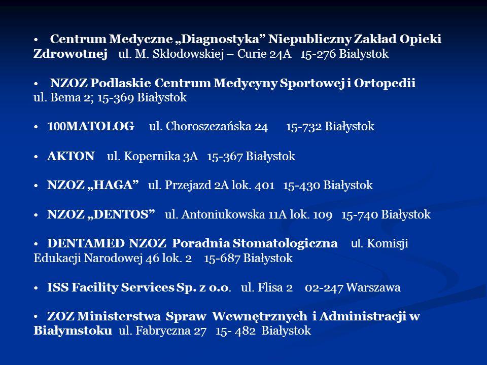 Centrum Medyczne Diagnostyka Niepubliczny Zakład Opieki Zdrowotnej ul. M. Skłodowskiej – Curie 24A 15-276 Białystok NZOZ Podlaskie Centrum Medycyny Sp