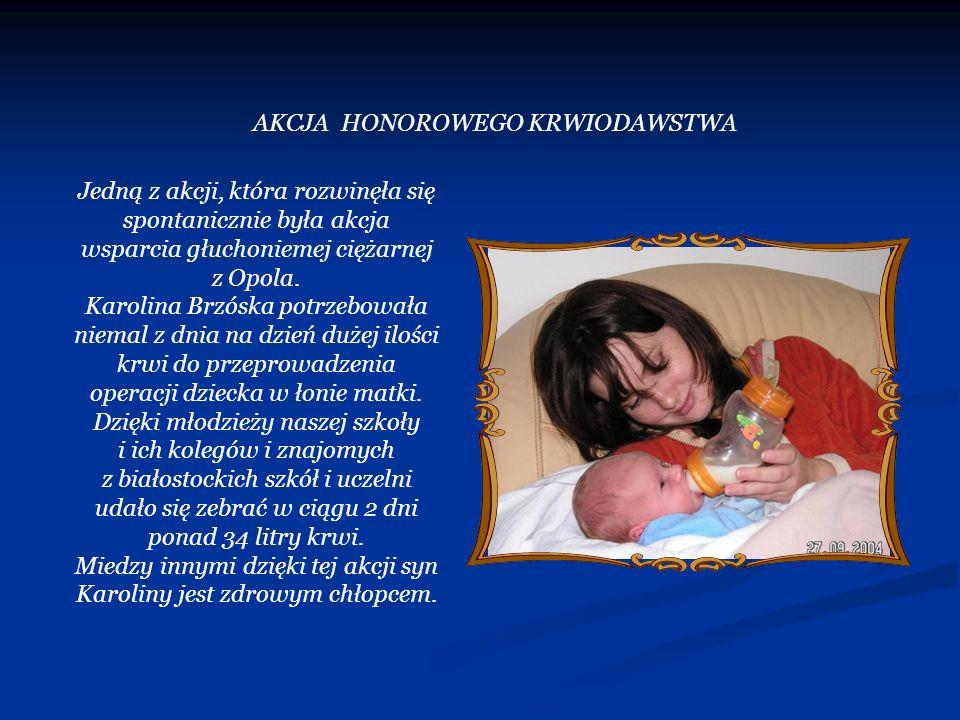 Jedną z akcji, która rozwinęła się spontanicznie była akcja wsparcia głuchoniemej ciężarnej z Opola. Karolina Brzóska potrzebowała niemal z dnia na dz