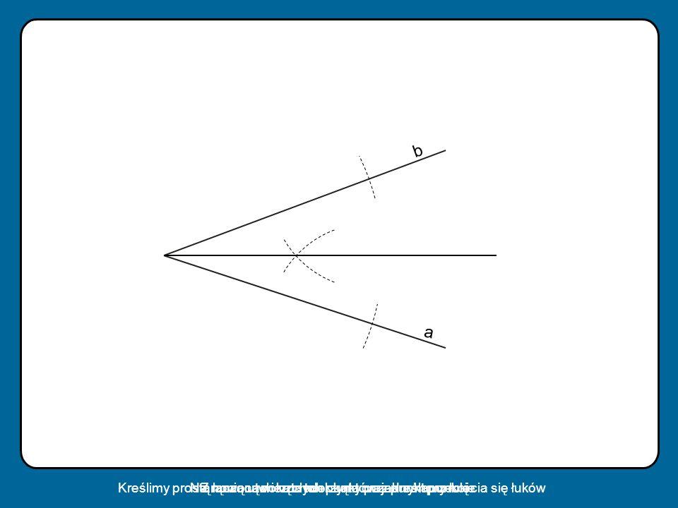 a b Na ramionach kąta tworzymy po jednym punkcieZ nowo utworzonych punktów zakreślamy łukiKreślimy prostą łączącą wierzchołek kąta oraz punkt przecięc