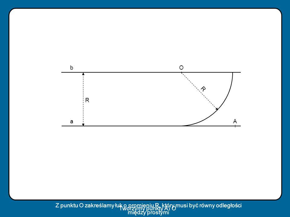 a bO R A R Tworzymy punkty A i O Z punktu O zakreślamy łuk o promieniu R, który musi być równy odległości między prostymi