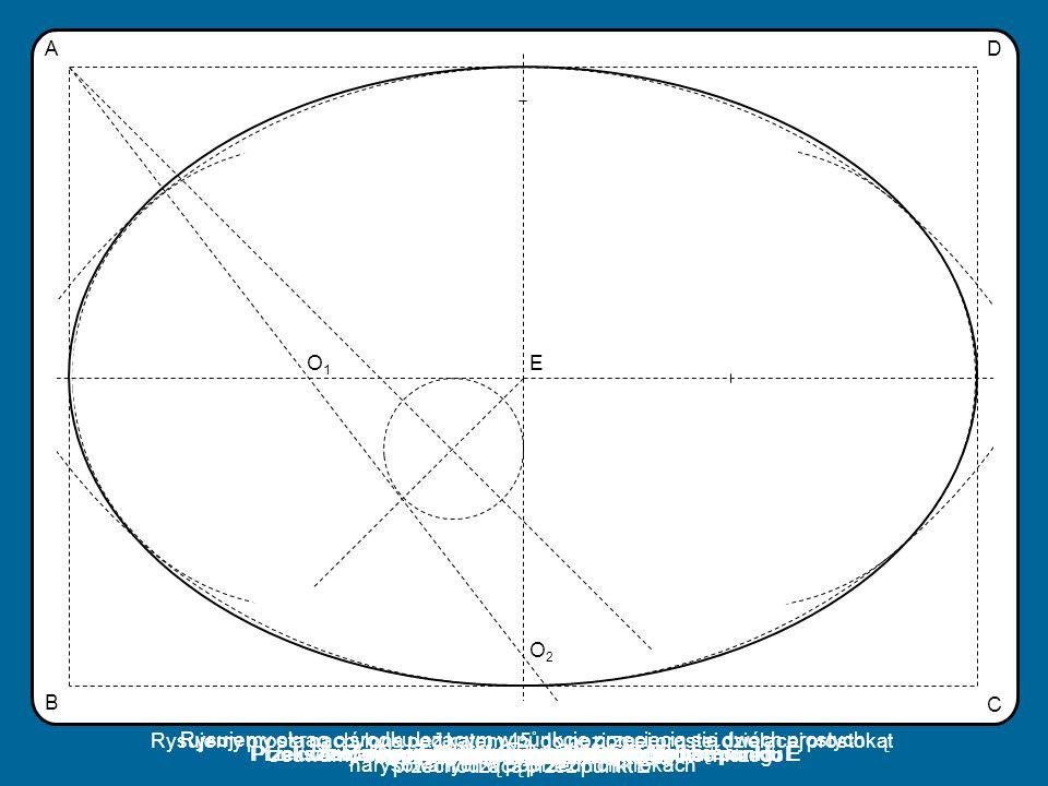 EO1O1 O2O2 DA C B Z nowo powstałego punktu kreślimy łuk Przekształcamy przez symetrię punkt O 2 względem punktu E Z punktu O 1 kreślimy łuk Rysujemy p
