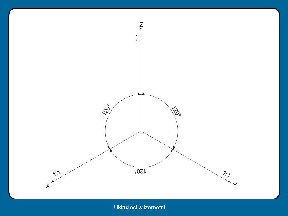 1 : 1 1 : 1 1 : 1 1 2 0 ° Z Y X 1 2 0 ° 1 20 ° Układ osi w izometrii