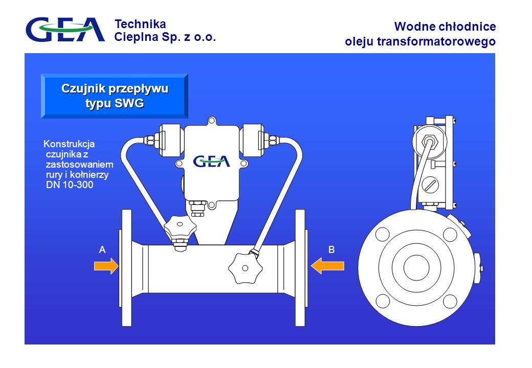 Technika Cieplna Sp. z o.o. Wodne chłodnice oleju transformatorowego AB Konstrukcja czujnika z zastosowaniem rury i kołnierzy DN 10-300 Czujnik przepł