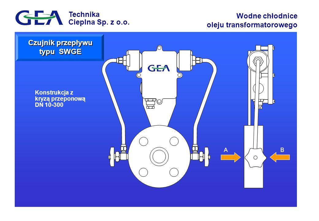 Technika Cieplna Sp. z o.o. Wodne chłodnice oleju transformatorowego AB Konstrukcja z kryzą przeponową DN 10-300 Czujnik przepływu typu SWGE