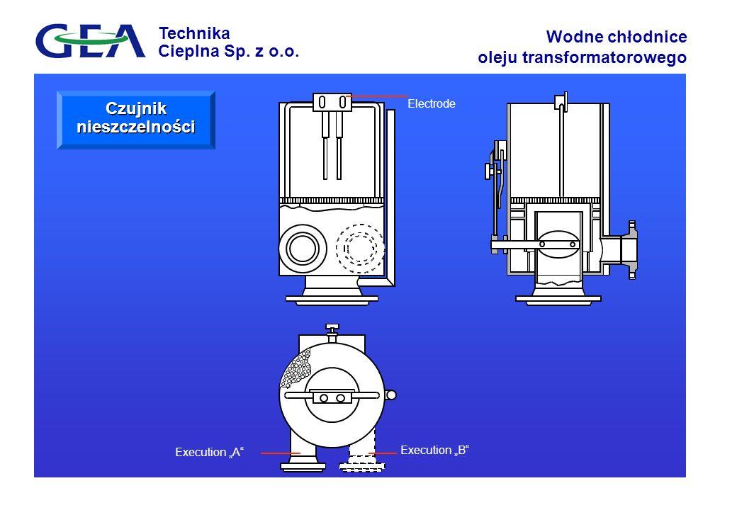 Technika Cieplna Sp. z o.o. Wodne chłodnice oleju transformatorowego Electrode Execution A Execution B Czujnik nieszczelności
