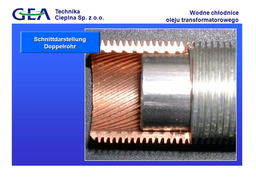 Technika Cieplna Sp. z o.o. Wodne chłodnice oleju transformatorowego Schnittdarstellung Doppelrohr