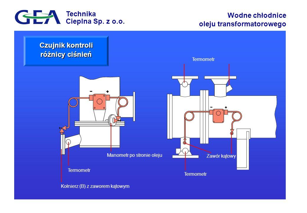 Technika Cieplna Sp. z o.o. Wodne chłodnice oleju transformatorowego Termometr Kołnierz (B) z zaworem kątowym Manometr po stronie oleju Termometr Wate
