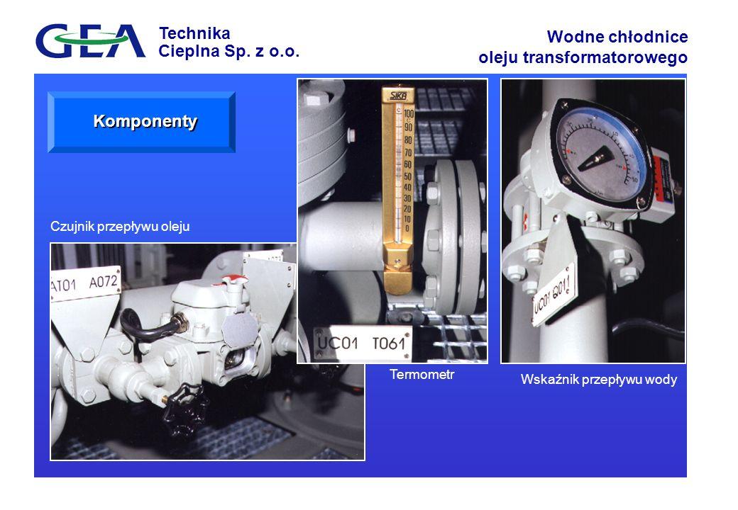 Technika Cieplna Sp. z o.o. Wodne chłodnice oleju transformatorowego Czujnik przepływu oleju Termometr Wskaźnik przepływu wody Komponenty