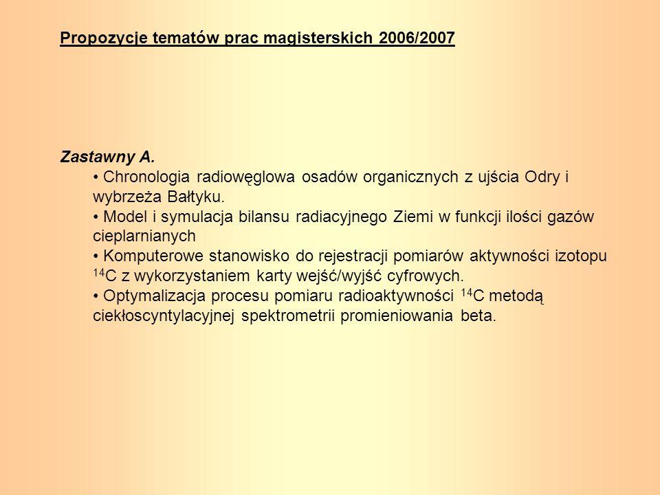 Propozycje tematów prac magisterskich 2006/2007 Zastawny A. Chronologia radiowęglowa osadów organicznych z ujścia Odry i wybrzeża Bałtyku. Model i sym