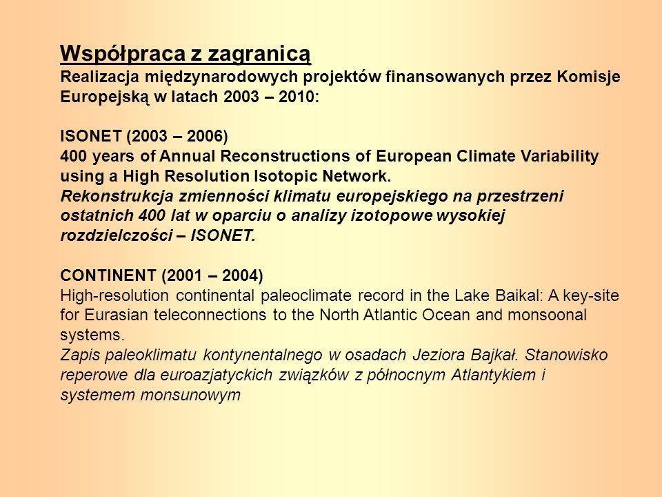 Współpraca z zagranicą Realizacja międzynarodowych projektów finansowanych przez Komisje Europejską w latach 2003 – 2010: ISONET (2003 – 2006) 400 yea