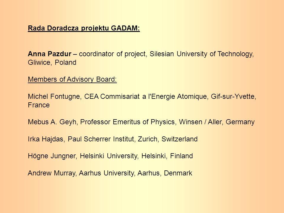 Rada Doradcza projektu GADAM: Anna Pazdur – coordinator of project, Silesian University of Technology, Gliwice, Poland Members of Advisory Board: Mich