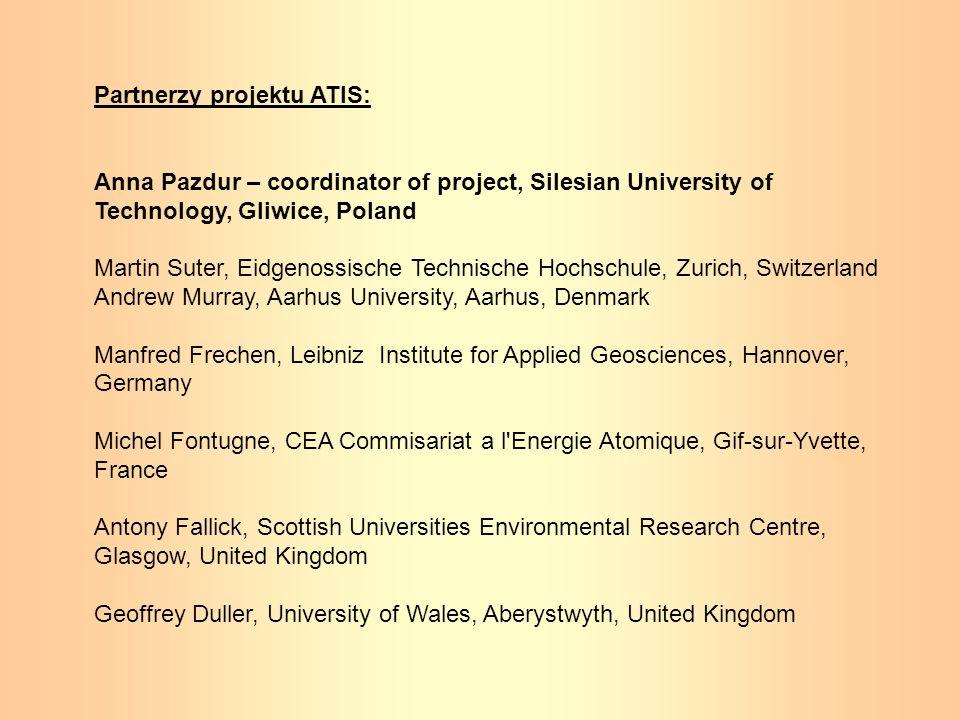 Partnerzy projektu ATIS: Anna Pazdur – coordinator of project, Silesian University of Technology, Gliwice, Poland Martin Suter, Eidgenossische Technis