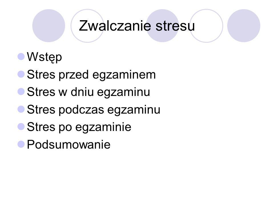 Zwalczanie stresu Wstęp Stres przed egzaminem Stres w dniu egzaminu Stres podczas egzaminu Stres po egzaminie Podsumowanie