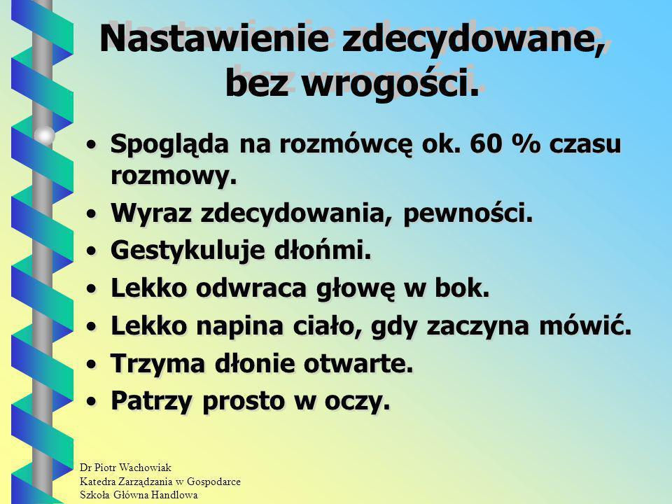 Dr Piotr Wachowiak Katedra Zarządzania w Gospodarce Szkoła Główna Handlowa Nastawienie zdecydowane, bez wrogości.