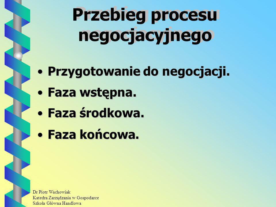 Dr Piotr Wachowiak Katedra Zarządzania w Gospodarce Szkoła Główna Handlowa Przebieg procesu negocjacyjnego Przygotowanie do negocjacji.