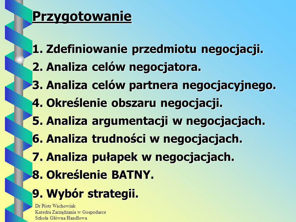 Dr Piotr Wachowiak Katedra Zarządzania w Gospodarce Szkoła Główna Handlowa Przygotowanie 1.