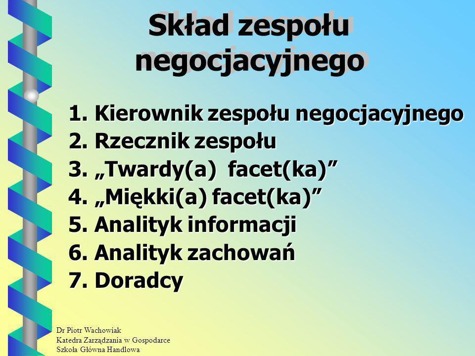 Dr Piotr Wachowiak Katedra Zarządzania w Gospodarce Szkoła Główna Handlowa Skład zespołu negocjacyjnego 1.