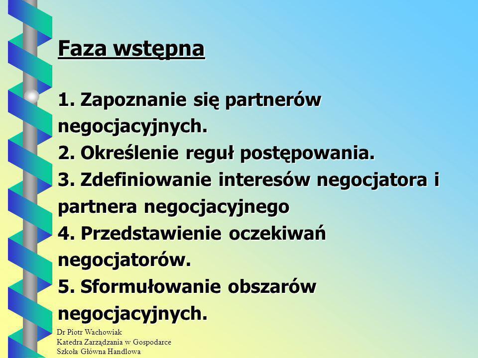 Dr Piotr Wachowiak Katedra Zarządzania w Gospodarce Szkoła Główna Handlowa Faza wstępna 1.