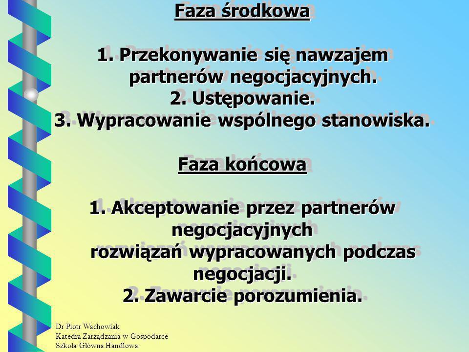 Dr Piotr Wachowiak Katedra Zarządzania w Gospodarce Szkoła Główna Handlowa Faza środkowa 1.