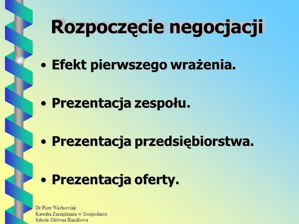 Dr Piotr Wachowiak Katedra Zarządzania w Gospodarce Szkoła Główna Handlowa Rozpoczęcie negocjacji Efekt pierwszego wrażenia.