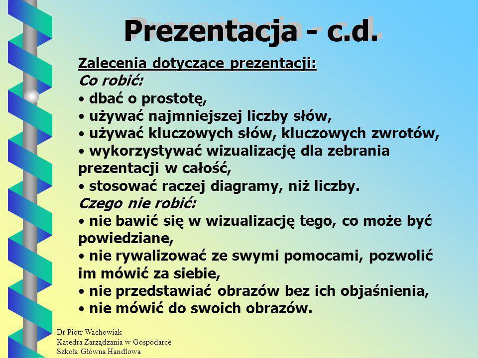 Dr Piotr Wachowiak Katedra Zarządzania w Gospodarce Szkoła Główna Handlowa Prezentacja - c.d.