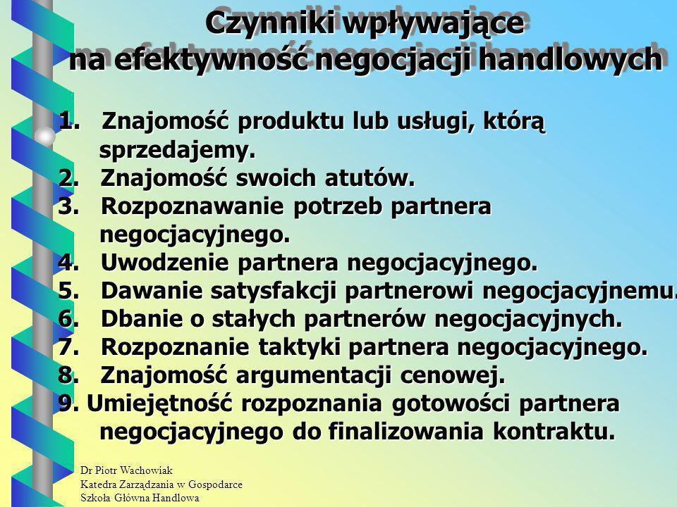 Dr Piotr Wachowiak Katedra Zarządzania w Gospodarce Szkoła Główna Handlowa Czynniki wpływające na efektywność negocjacji handlowych Czynniki wpływające na efektywność negocjacji handlowych 1.