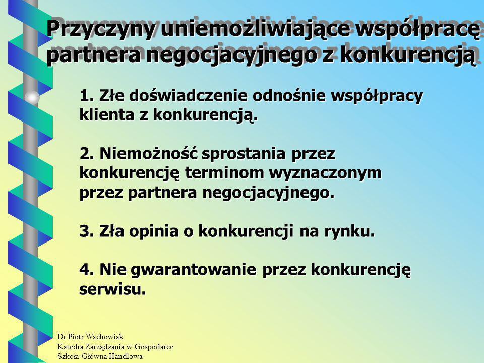Dr Piotr Wachowiak Katedra Zarządzania w Gospodarce Szkoła Główna Handlowa Przyczyny uniemożliwiające współpracę partnera negocjacyjnego z konkurencją Przyczyny uniemożliwiające współpracę partnera negocjacyjnego z konkurencją 1.