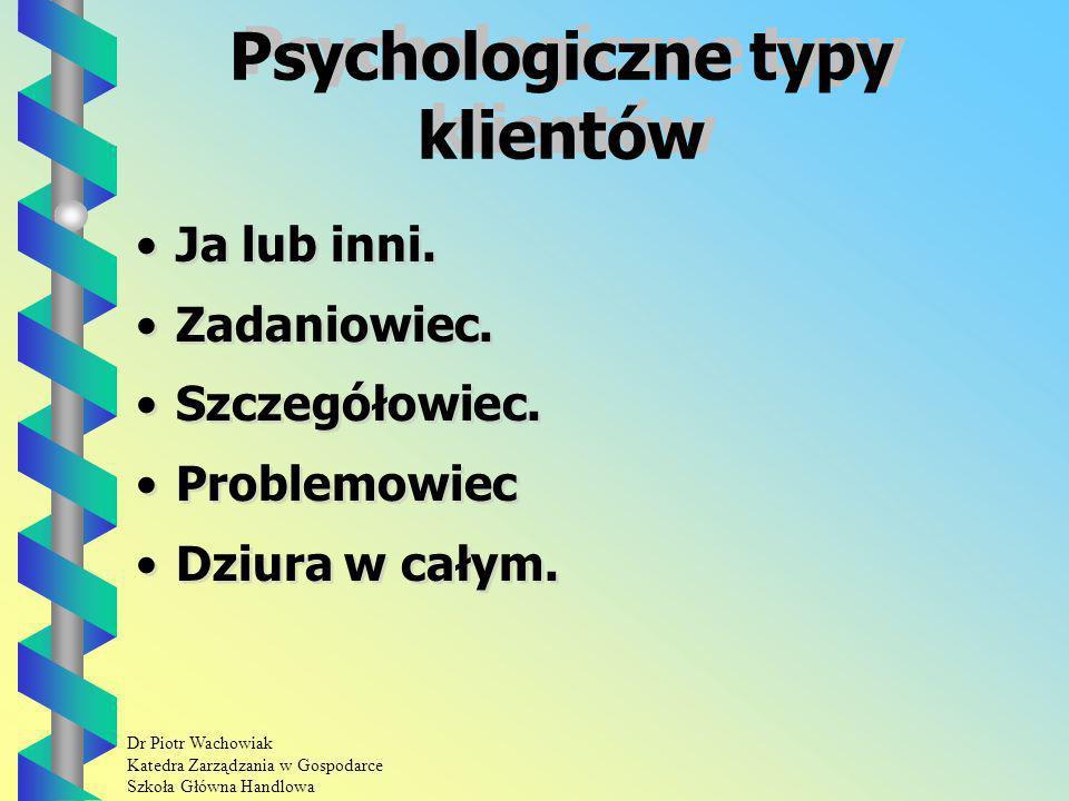 Dr Piotr Wachowiak Katedra Zarządzania w Gospodarce Szkoła Główna Handlowa Psychologiczne typy klientów Ja lub inni.