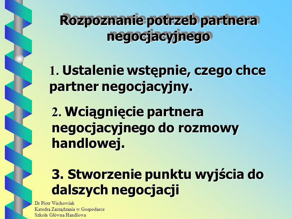 Dr Piotr Wachowiak Katedra Zarządzania w Gospodarce Szkoła Główna Handlowa Rozpoznanie potrzeb partnera negocjacyjnego 2.