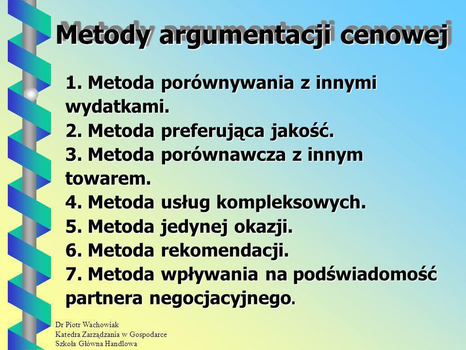 Dr Piotr Wachowiak Katedra Zarządzania w Gospodarce Szkoła Główna Handlowa Metody argumentacji cenowej 1.