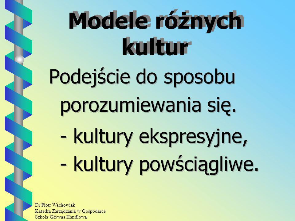 Dr Piotr Wachowiak Katedra Zarządzania w Gospodarce Szkoła Główna Handlowa Modele różnych kultur Podejście do sposobu porozumiewania się.