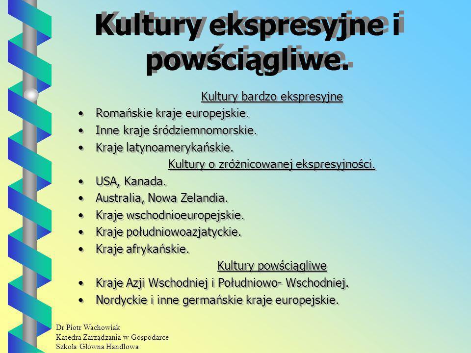 Dr Piotr Wachowiak Katedra Zarządzania w Gospodarce Szkoła Główna Handlowa Kultury ekspresyjne i powściągliwe.