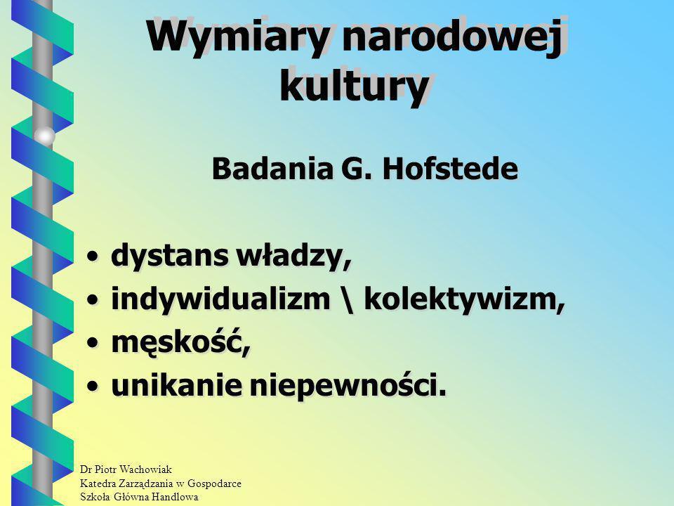 Dr Piotr Wachowiak Katedra Zarządzania w Gospodarce Szkoła Główna Handlowa Wymiary narodowej kultury Badania G.