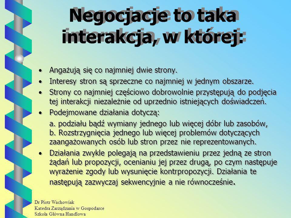 Dr Piotr Wachowiak Katedra Zarządzania w Gospodarce Szkoła Główna Handlowa Negocjacje to taka interakcja, w której: Angażują się co najmniej dwie strony.