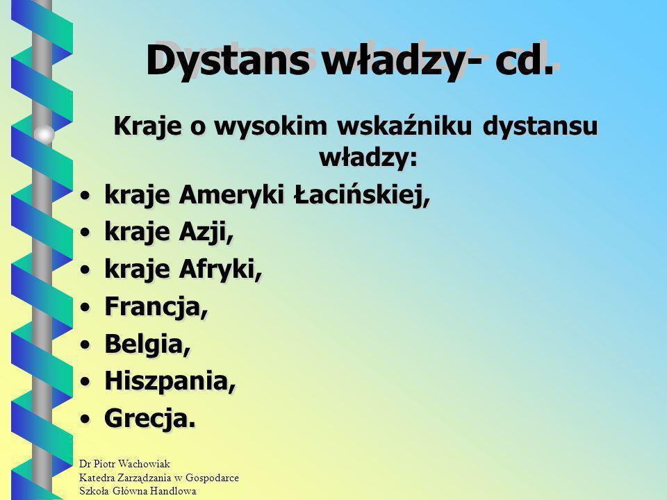 Dr Piotr Wachowiak Katedra Zarządzania w Gospodarce Szkoła Główna Handlowa Dystans władzy- cd.