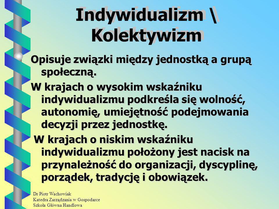 Dr Piotr Wachowiak Katedra Zarządzania w Gospodarce Szkoła Główna Handlowa Indywidualizm \ Kolektywizm Opisuje związki między jednostką a grupą społeczną.