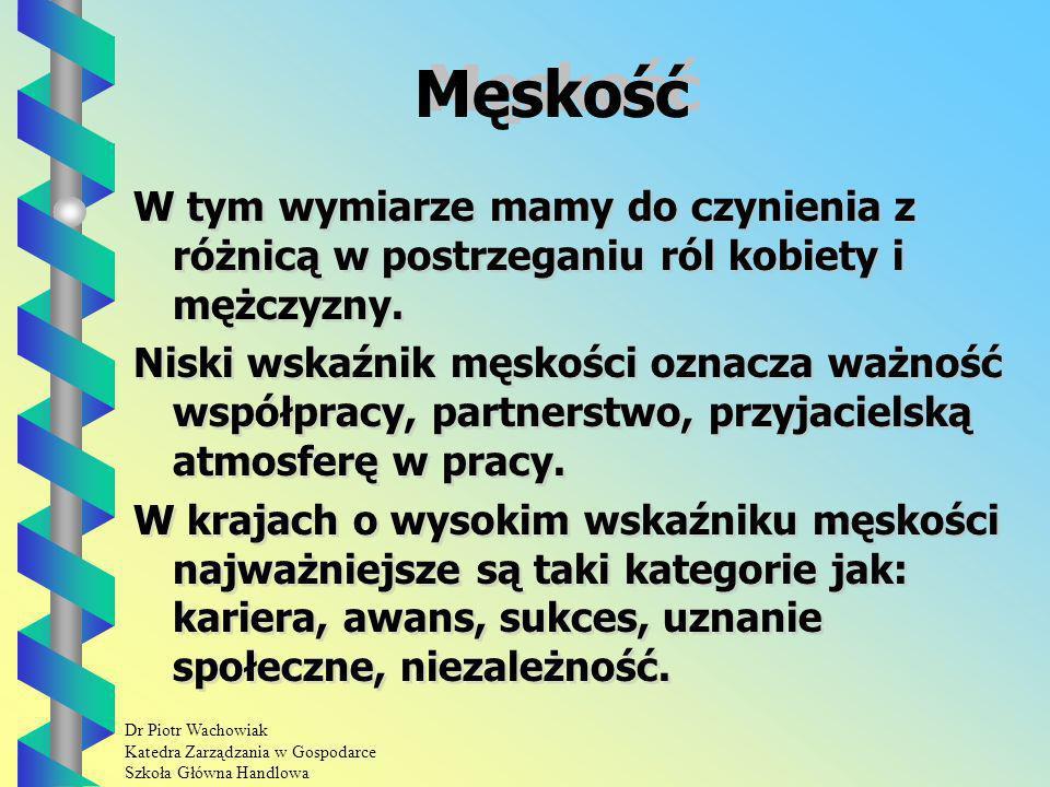 Dr Piotr Wachowiak Katedra Zarządzania w Gospodarce Szkoła Główna Handlowa Męskość W tym wymiarze mamy do czynienia z różnicą w postrzeganiu ról kobiety i mężczyzny.