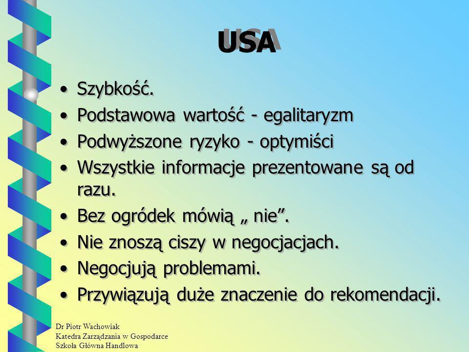 Dr Piotr Wachowiak Katedra Zarządzania w Gospodarce Szkoła Główna Handlowa USA Szybkość.