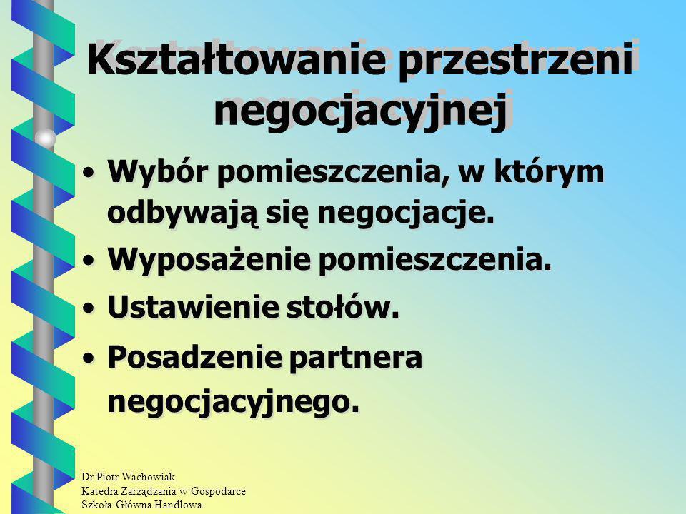 Dr Piotr Wachowiak Katedra Zarządzania w Gospodarce Szkoła Główna Handlowa Kształtowanie przestrzeni negocjacyjnej Wybór pomieszczenia, w którym odbywają się negocjacje.