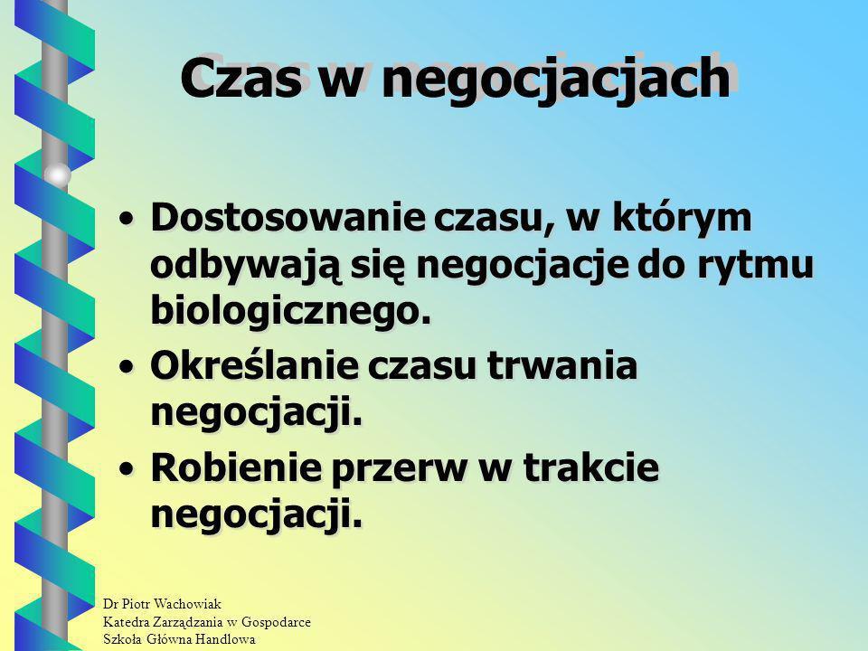 Dr Piotr Wachowiak Katedra Zarządzania w Gospodarce Szkoła Główna Handlowa Czas w negocjacjach Dostosowanie czasu, w którym odbywają się negocjacje do rytmu biologicznego.