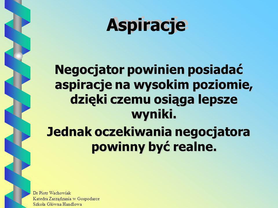 Dr Piotr Wachowiak Katedra Zarządzania w Gospodarce Szkoła Główna Handlowa Aspiracje Negocjator powinien posiadać aspiracje na wysokim poziomie, dzięki czemu osiąga lepsze wyniki.