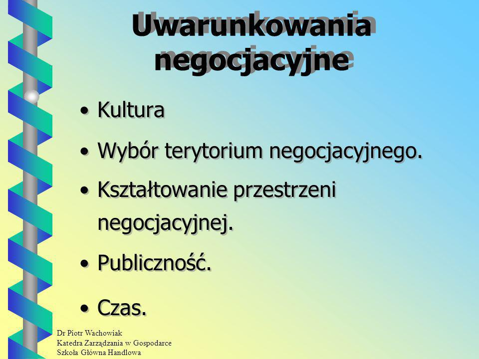 Dr Piotr Wachowiak Katedra Zarządzania w Gospodarce Szkoła Główna Handlowa Uwarunkowania negocjacyjne Kultura Wybór terytorium negocjacyjnego.