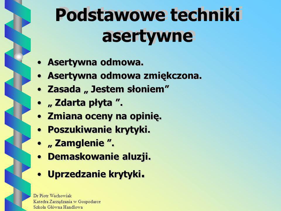 Dr Piotr Wachowiak Katedra Zarządzania w Gospodarce Szkoła Główna Handlowa Podstawowe techniki asertywne Asertywna odmowa.