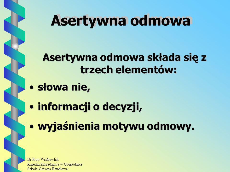 Dr Piotr Wachowiak Katedra Zarządzania w Gospodarce Szkoła Główna Handlowa Asertywna odmowa Asertywna odmowa składa się z trzech elementów: słowa nie, informacji o decyzji, wyjaśnienia motywu odmowy.